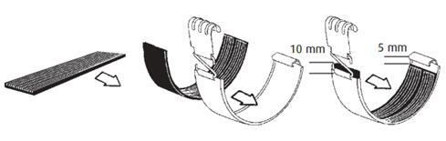 plaats rubber op dakgootverbinder